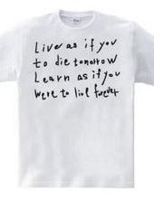 明日死んでしまうかのように生きろ。永遠に生きるかのように学べ