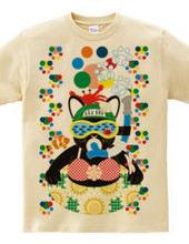夏の海水浴猫カラフル