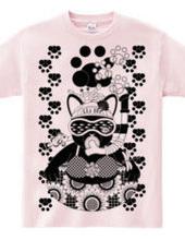 Sea bathing cat in summer monochrome