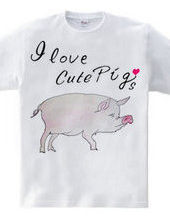 豚の水彩画 I love cute Pigs