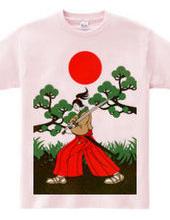 Samurai sword and pine and Japanese flag