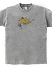 幸せの鍵を運ぶ黄色い小鳥が1羽。