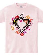 Heart トライバル type1-バラのハート-