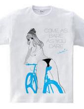 自転車とタンクトップ ガールズイラスト