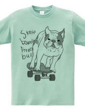 skateboarding french bulldog