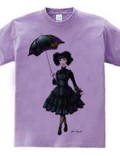 日傘をさすゴシックロリータ