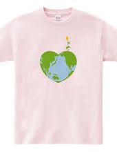 ハートの地球と花