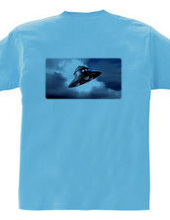 Blue sky and UFO / dark blue / Back Prin