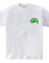 ヒラギノ明朝体『く』による日の出 緑ロゴ無
