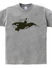 Killer whales swim