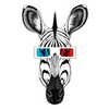 Zebra with 3D glasses